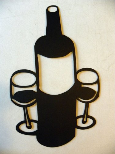 Wine Bottle And 2 Glasses Large 18 Metal Wall Art Home Decor