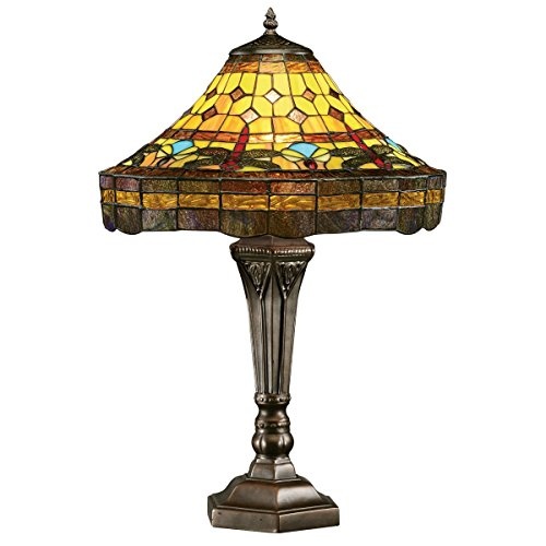 Design Toscano Dragonfly Tiffany-Style Stained Glass Lamp - Bronze Piano Lamp