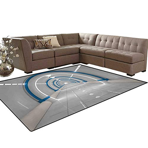 Outer Space Anti-Skid Area Rugs Galaxy Textured Spaceflight Animation Flash Force Travel Static Image Print Customize Door mats for Home Mat 6'x8' Gray Blue]()