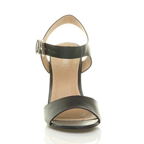 Women Black High Ajvani Size Matte Heel Sandals Block 7O8wS8q