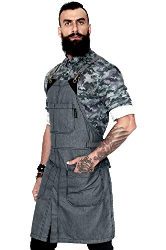 Under NY Sky Cross-Back Slate Gray Apron - Durable Denim with Leather Reinforcement and Split-Leg - Adjustable for Men and Women - Pro Chef, Tattoo, Baker, Barista, Bartender, Stylist, Server Aprons