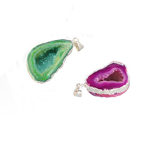 ZENGORI 925 Sterling Silver Plated Natural Freedom Rainbow Druzy Agate Geode Pendant Bead #SS001
