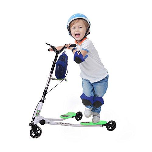 JAXPETY Medium Kids 3 Wheel Mini Push Kick Scooter Y Slicker Scooter Swing Tri Slider Motion Winged Striker Drifter for Boys & Girls Green Age 5+