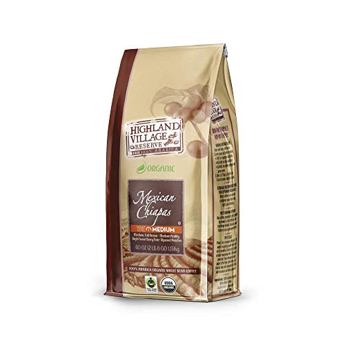 - HIGHLAND VILLAGE RESERVE Mexican Chiapas Whole Bean Coffee, Medium Roast, 40 Ounce Bag | Organic Coffee Beans, Fair Trade Coffee