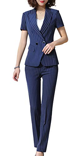 Women's Two Pieces Stripe Office Lady Business Work Suits Short Sleeve Women Blazers for Work Blazer & Pant/Skirt Suits