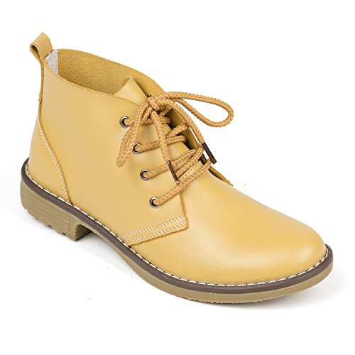 Weideng Candy Color Fashion Women Lace up Genuine Leather Classic Shoe High Style Flat Casual Shoes Boots (6.5, Yellow) by Weideng