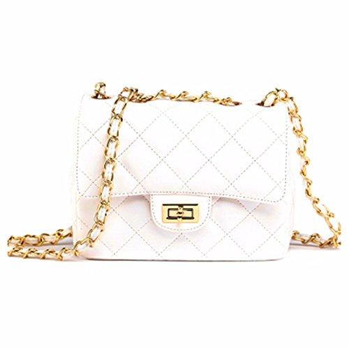 Cadena silvestre bolsa bolso de hombro pequeño paquete cuadrado mini bolsa, blanco