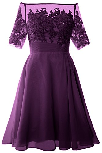 MACloth Women Off Shoulder Mother of Bride Dress with Sleeve Midi Cocktail Dress (EU50, Eggplant)