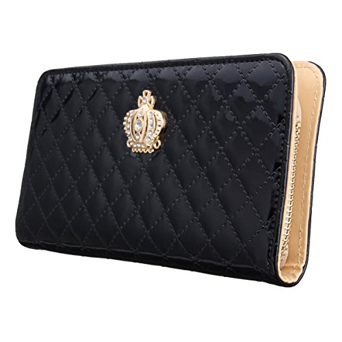 OURBAG Women Clutch Wallet Elegant Crown Lady Long Purse Leather Wallet - Ladies Wallet Black Checkbook