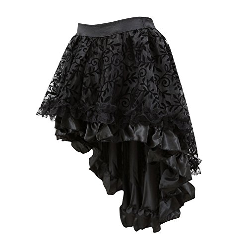 Coswe Women's Solid Color Lace Asymmetrical High Low Corset Skirt (Black1, Large) ()