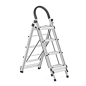 Delxo 2 in 1 Aluminum Lightweight 4 Step Ladder Step Stool Multi-Use Ladder with Foldable Laundry Drying Rack Rust-Proof Ladder 330lbs Capacity Space Saving 4-Feet Black (double side)