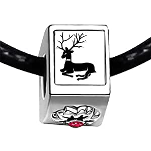 Chicforest Silver Plated Lying Christmas Reindeer Photo Red Zircon Crystal July Birthstone Flower Charm Beads Fits Pandora Bracelet