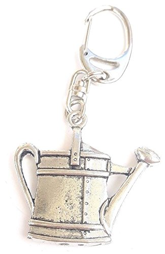 (Solid Pewter Watering Can Keychain)