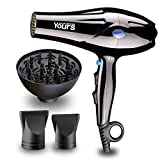 Hair Blow Dryer for 1875 Watt - Professional Hair Dryer with Diffuser Concentrators 2 Speed and 3 Heat Settings Cool Shut Button AC Motor by YOURS (Black)