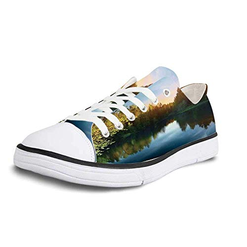 - Canvas Sneaker Low Top Shoes,Lake House Decor Modern Photo of Lake and Forest Landscape in Northern Island with Realistic Color Art Women 8