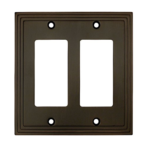 Cosmas 25090-ORB Oil Rubbed Bronze Double GFI / Decora Rocker Wall Switch Plate Switchplate Cover (Bronze Double Rocker)