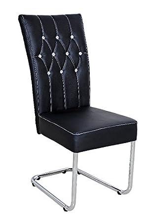 Chaise Design Cuir Synthetique Noir Avec Strass Et Pieds Acier Chrome