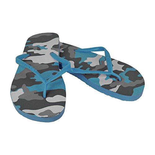2073 Tongs pour homme fantaisie militaire - 3 couleurs - Plage - Bleu, 40