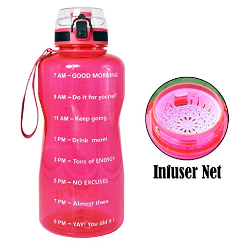 QuiFit Half Gallon Water Bottle with Infuser and Time Marker, Locking Flip-Flop Lid,Large Capacity 64/43/15 oz BPA Free Outdoors Tritan Sport Fitness Water Jug (Hot Pink, 64 oz) (Pink Half Gallon Water Jug)