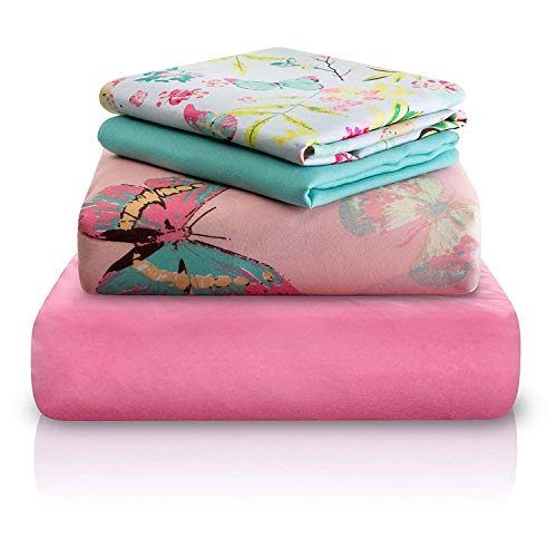 Chital Twin Bed Sheets for Girls | 4 Pc Colorful Kids Bedding Set | Pink Decorative Butterfly Print | Durable Super-Soft, Double-Brushed Microfiber | 1 Flat & 1 Fitted Sheet, 2 Pillow Cases | 15