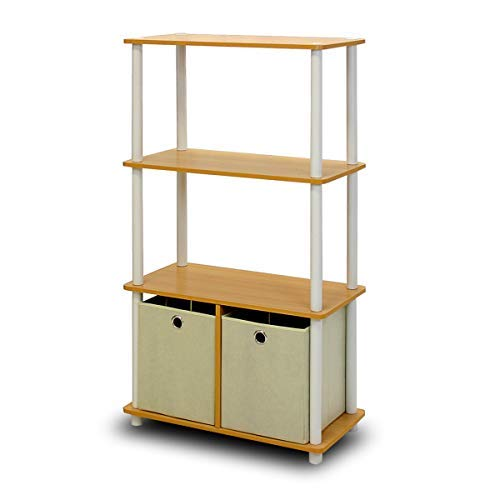 Furinno NW889BE/WH Go Green 4-Tier Multipurpose Storage Rack w/Bins, Beech/White ()
