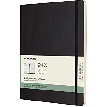 Moleskine Classic 18 Month 2019-2020 Weekly Planner, Soft Cover, XL (7.5
