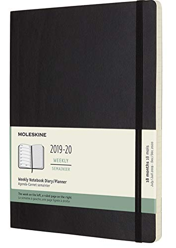 "Moleskine Classic 18 Month 2019-2020 Weekly Planner, Soft Cover, XL (7.5"" x 9.5"") Black"