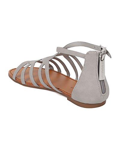 Sandalo Flat Donna Gladiatore Alrisco - Sandalo Con Cinturino - Sandalo Casual Per Tutti I Giorni Estivi Casual - Hb10 By Leatherette Breckelles