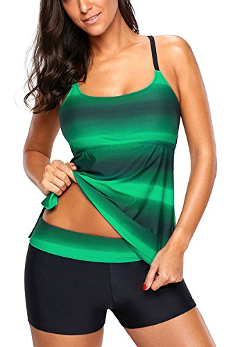 Women's Gradient Color Tankini with Boy Shorts Set Swimwear Bathing Suit, Green, S