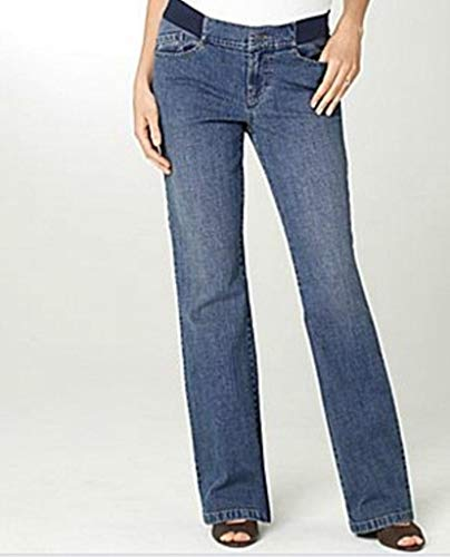 (Duo Women's Pregnancy Summer Winter Maternity Bootcut Denim Blue Jean Pant Size L XL(Regular L 32))