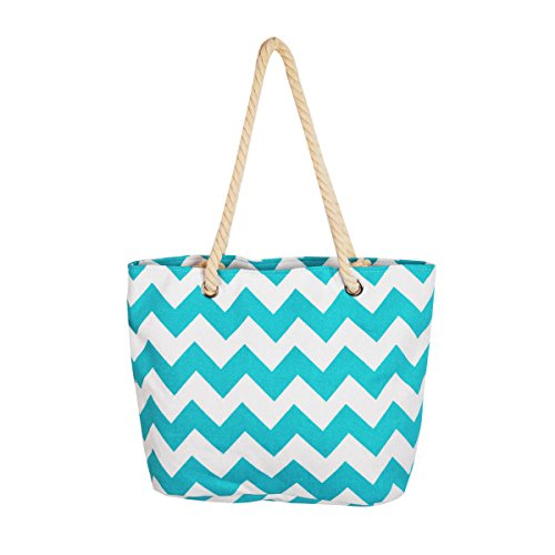 Premium Large Chevron Zig Zag Canvas Tote Shoulder Bag Handbag, Teal