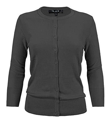 YEMAK Women's 3/4 Sleeve Crewneck Button Down Knit Cardigan Sweater CO079-CHA-1X Charcoal