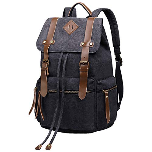 BeautyWill Vintage Canvas Backpack Rucksack Casual Bookbag Unisex for College Travel Hiking Camping Men Women Student, Black