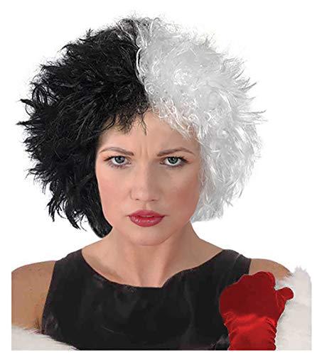 Black and White Cruella Deville Wig Cruella Wig Costume Cruella Deville Wig ()