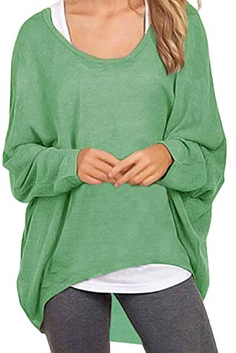 UGET Women's Sweater Casual Oversized Baggy Off-Shoulder Shirts Batwing Sleeve Pullover Shirts Tops Asia S Light Green -