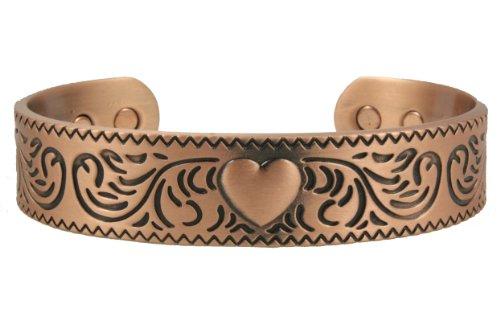Heart Antique Copper Powerful 6 Magnet Magnetic Therapy Copper Cuff Men's Bracelet Minimum 2000 Gauss Each Magnet