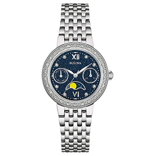 Bulova Women's Quartz Watch with Stainless-Steel Strap, Silver, 16 (Model: 96R210)