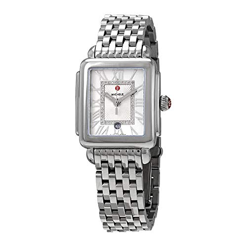 (Michele Women's Deco Madison Mid Silver - MWW06G000012 Stainless Steel/Silver/White Sunray Dial One Size)