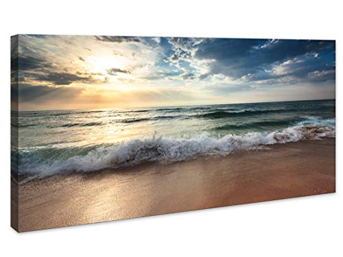 Canvas wall art decor for Living Room Ocean Beach Pictures Paintings Bedroom Home Decorations Modern Stretched and Framed Seascape Waves Landscape Canvas Prints Artwork (24inchx48inch, Beach1)