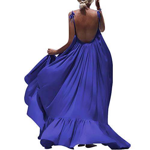 kaifongfu Summer Women Boho Solid Color Sleeveless Long Backless Dress Evening Party Beachwear Dress(Blue,M)