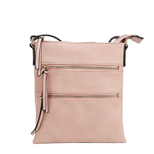 (Lily Jane Essential Casual Multi Pocket Crossbody Bag (Nude))
