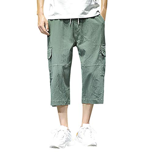 (LUCAMORE Mens Summer Casual Baggy Cotton Linen Pocket Lounge Harem Pants Beach Long Shorts Army Green)