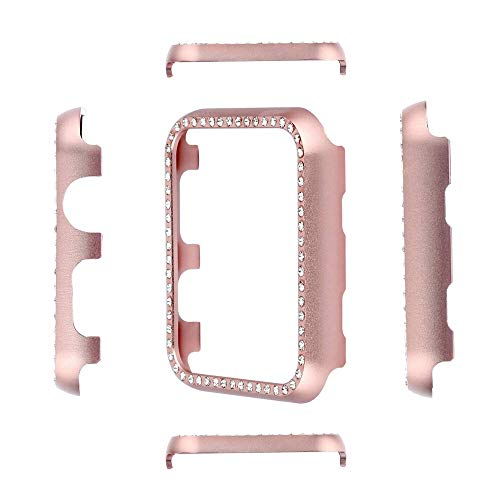 Smartwatch Bumper Case Bling Crystal Aluminum Alloy Cover Case Shiny Rhinestone Diamond Protective Metal Frame Cover Compatible with Apple Watch iWatch Series 4 (Rose Gold, 40mm) ()