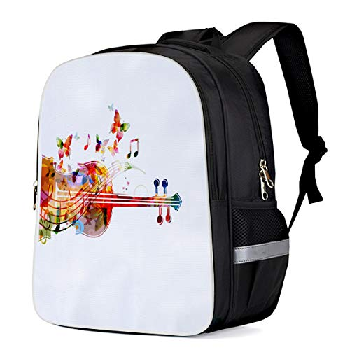 Unisex Durable School Backpack- Watercolor Butterfly Cello, Lightweight Oxford Fabric School Bags with Reflective Strip Daypack Laptop - Cello Butterfly