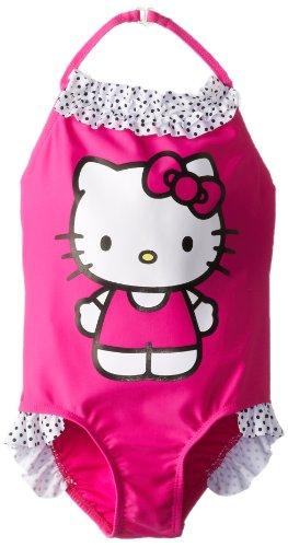 Hello Kitty Girls 2-6X with Polka Dot Ruffle Trim One Piece Swimsuit