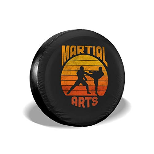 EtenorLife Martial Art Karate 15 Inch Tire Cover Potable Polyester Universal Spare Wheel Tire Cover Wheel Covers for Trailer RV SUV Truck Camper Travel Trailer Accessories