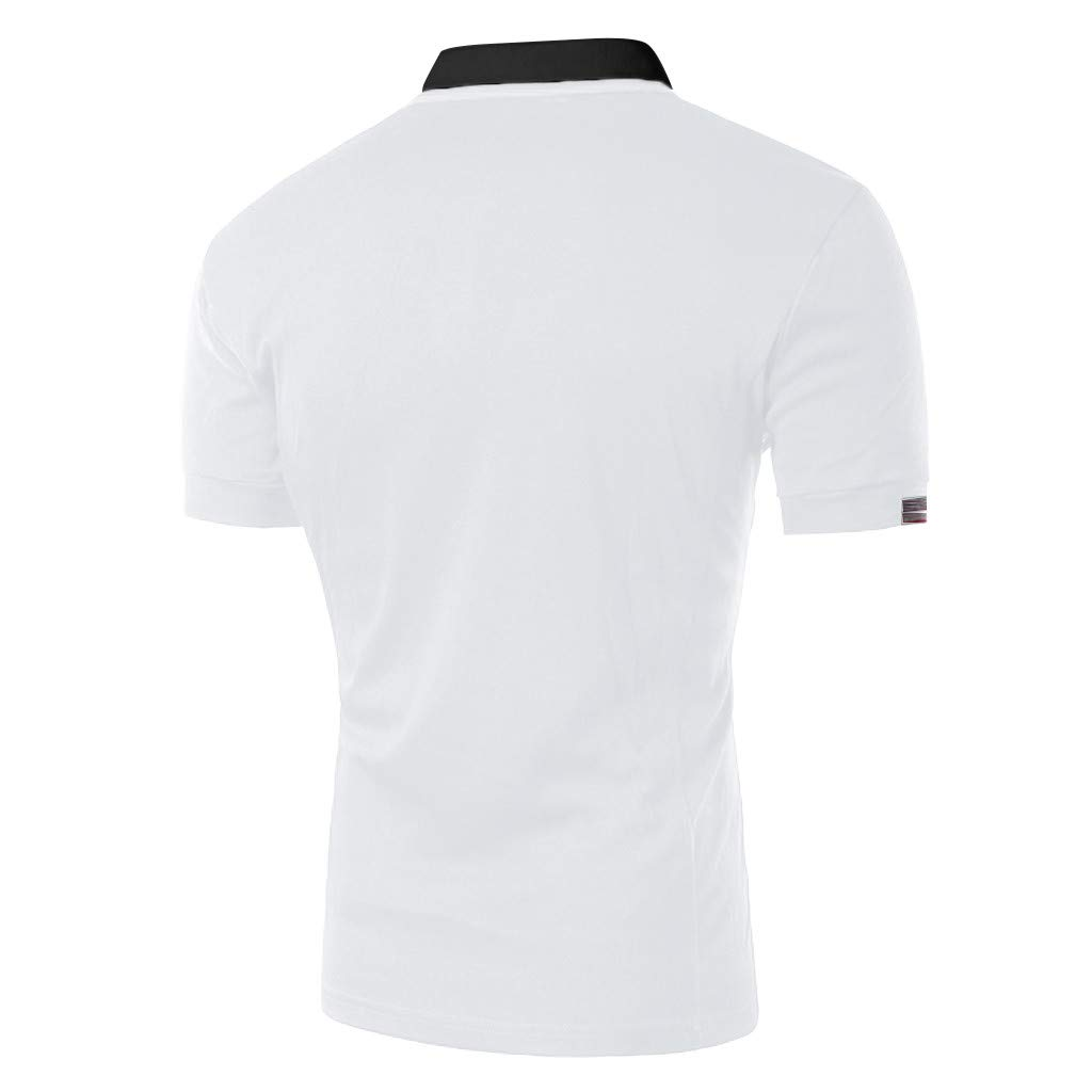 POQOQ Fashion Mens Casual Slim Short Sleeve T Shirt Top Blouse