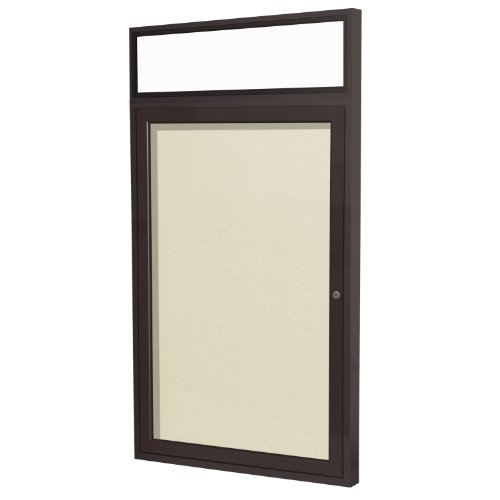 Illuminated Cork Board - Ghent 3 x 2 Inches Outdoor Bronze Frame with Illuminated Headliner Enclosed Vinyl Bulletin Board, Ivory, Made in the USA