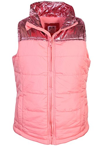 Aeropostale Fleece - p.s. from aeropostale Girls Pongee Puffer Vest Jacket, Rose Pink, Size 10