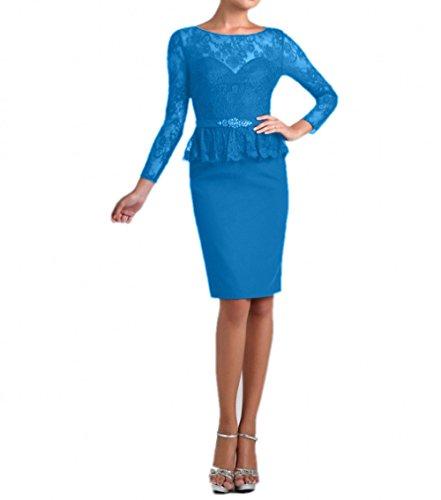 Charmant Langarm Etuikleider Blau Abendkleider Damen Festlichkleider Kurz Brautmutterkleider Blau Spitze Knielang 6A6Hrwq